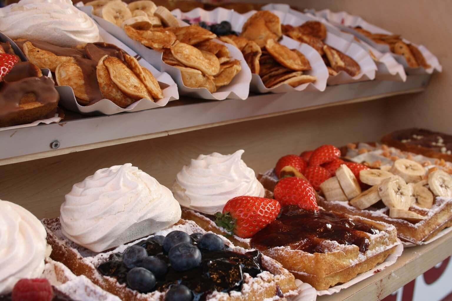 Poffertjes (pancakes) et gaufres à Amsterdam